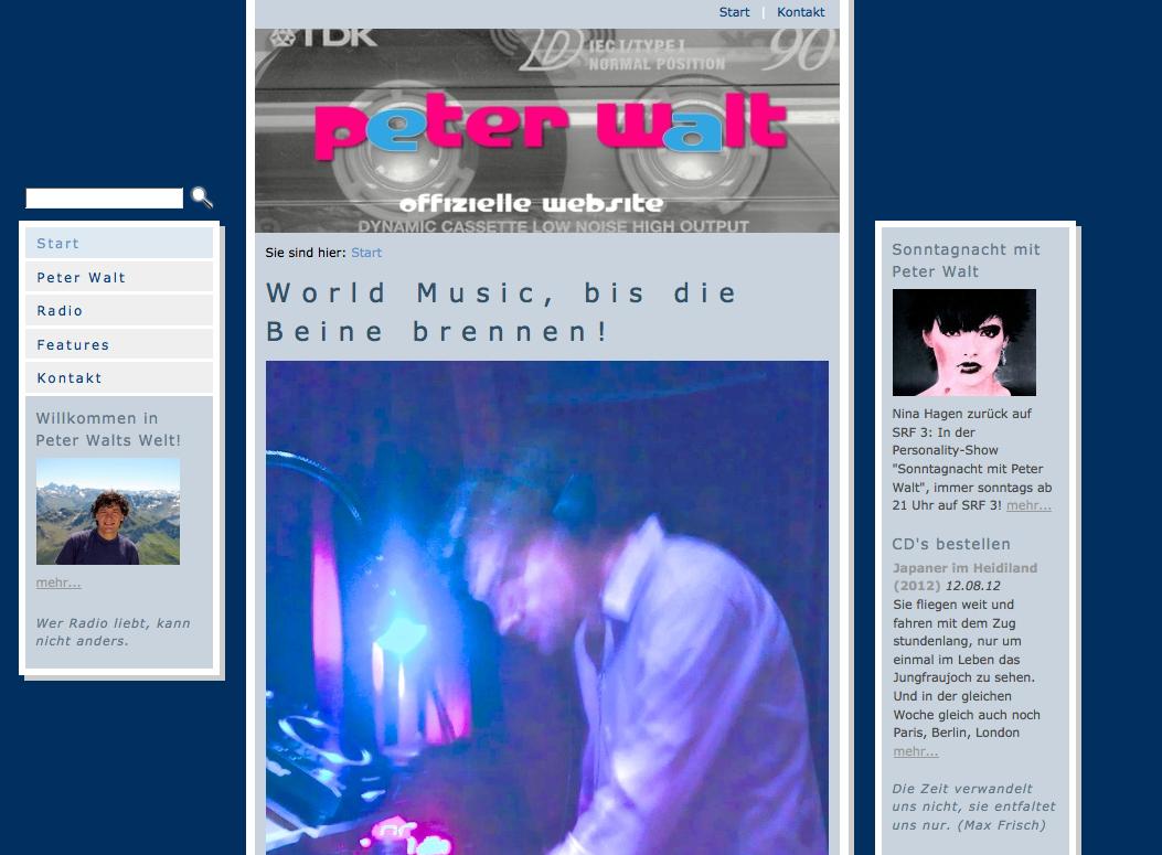 Die alte Website peterwalt.ch bis März 2014.